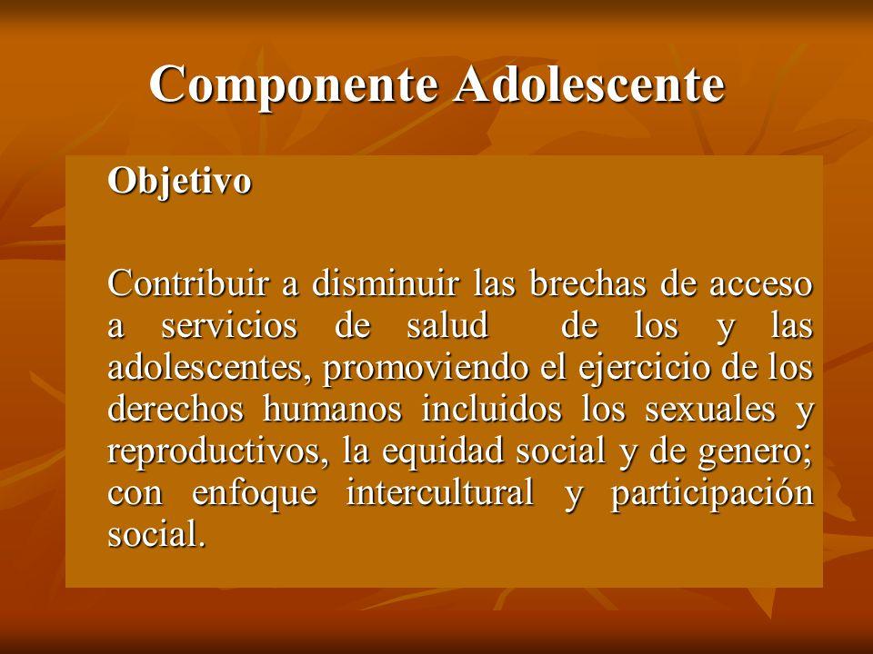 Componente Adolescente Objetivo Contribuir a disminuir las brechas de acceso a servicios de salud de los y las adolescentes, promoviendo el ejercicio