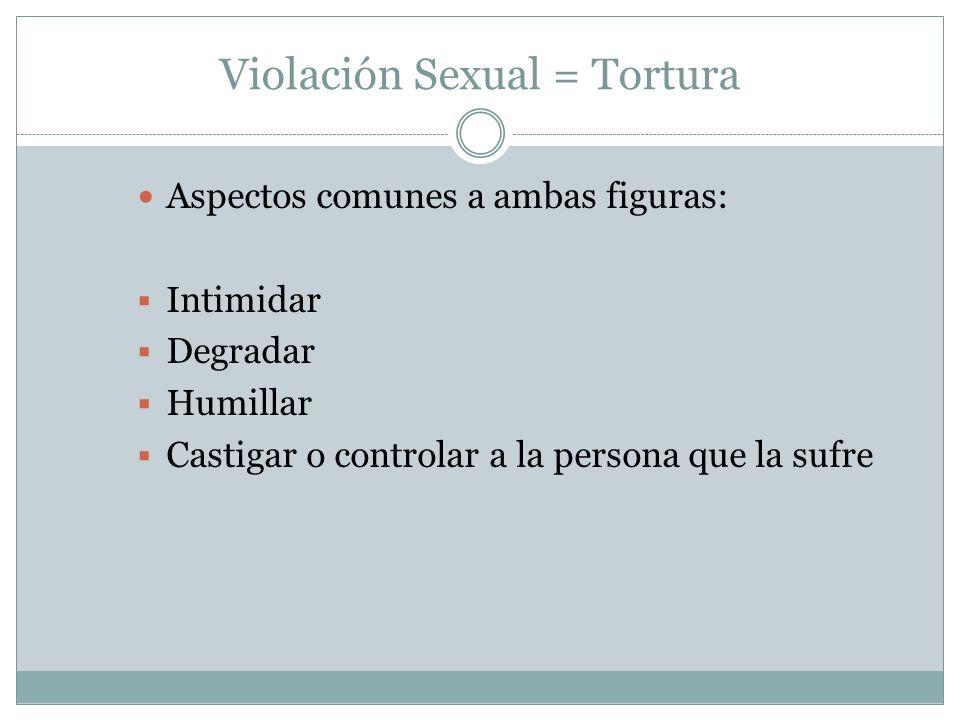 Violación Sexual = Tortura Aspectos comunes a ambas figuras: Intimidar Degradar Humillar Castigar o controlar a la persona que la sufre