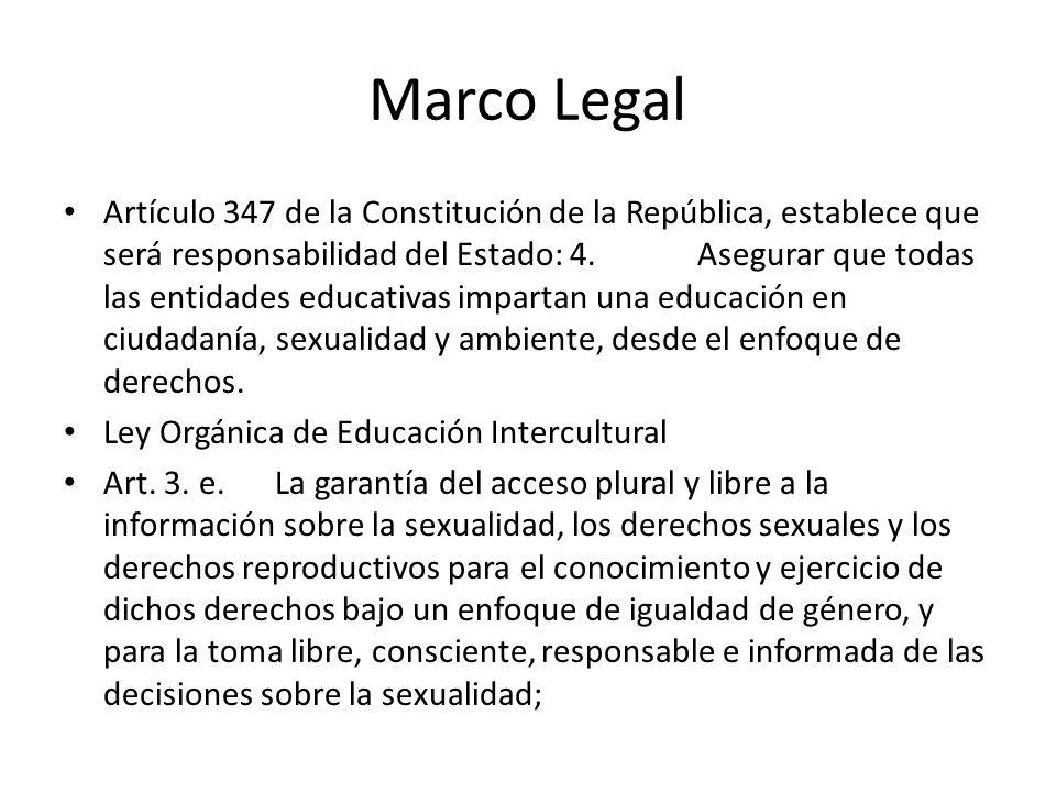 Marco Legal Artículo 347 de la Constitución de la República, establece que será responsabilidad del Estado: 4.Asegurar que todas las entidades educati
