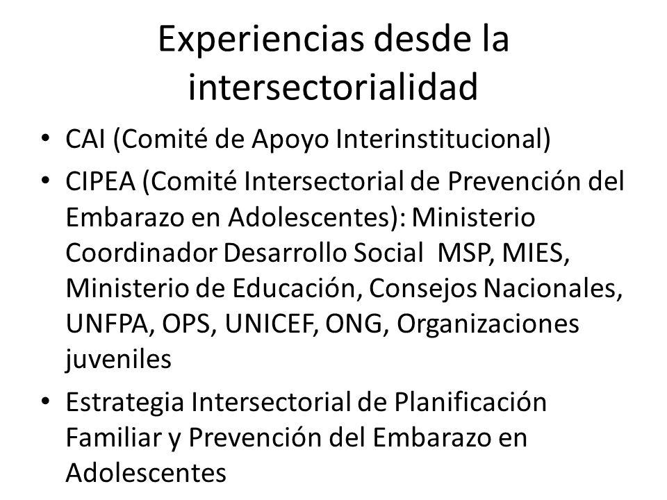 Experiencias desde la intersectorialidad CAI (Comité de Apoyo Interinstitucional) CIPEA (Comité Intersectorial de Prevención del Embarazo en Adolescen