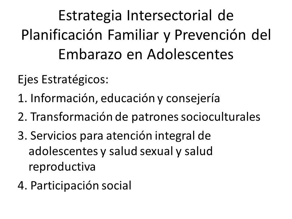 Ejes Estratégicos: 1. Información, educación y consejería 2. Transformación de patrones socioculturales 3. Servicios para atención integral de adolesc