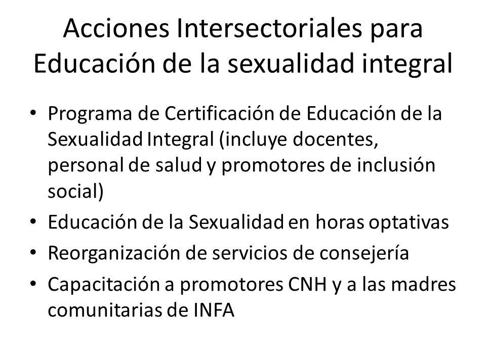 Acciones Intersectoriales para Educación de la sexualidad integral Programa de Certificación de Educación de la Sexualidad Integral (incluye docentes,