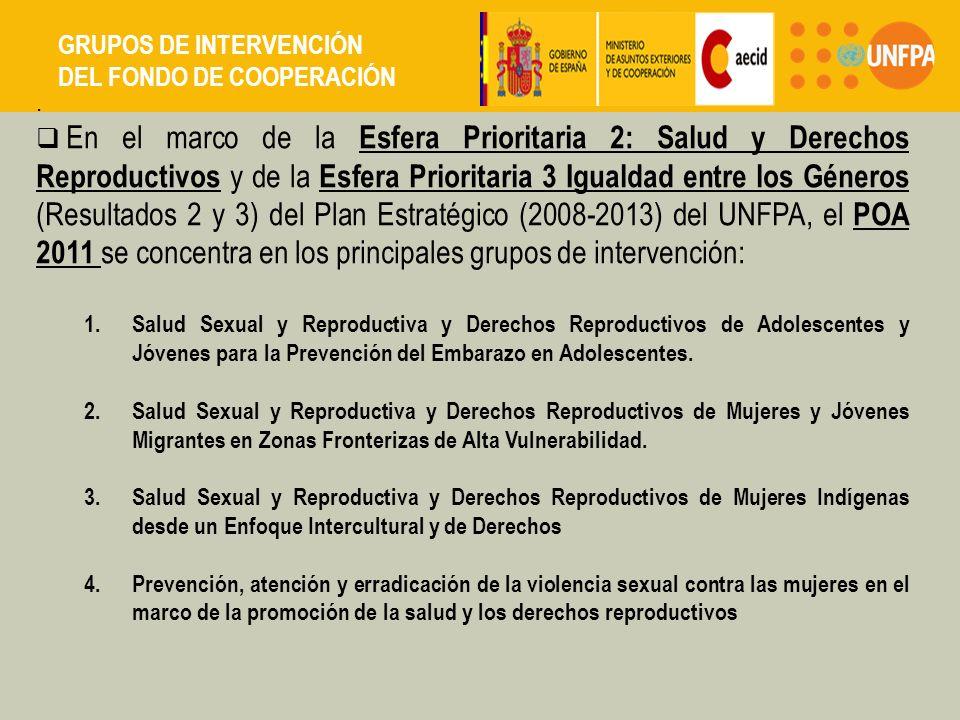 En el marco de la Esfera Prioritaria 2: Salud y Derechos Reproductivos y de la Esfera Prioritaria 3 Igualdad entre los Géneros (Resultados 2 y 3) del Plan Estratégico (2008-2013) del UNFPA, el POA 2011 se concentra en los principales grupos de intervención: 1.Salud Sexual y Reproductiva y Derechos Reproductivos de Adolescentes y Jóvenes para la Prevención del Embarazo en Adolescentes.