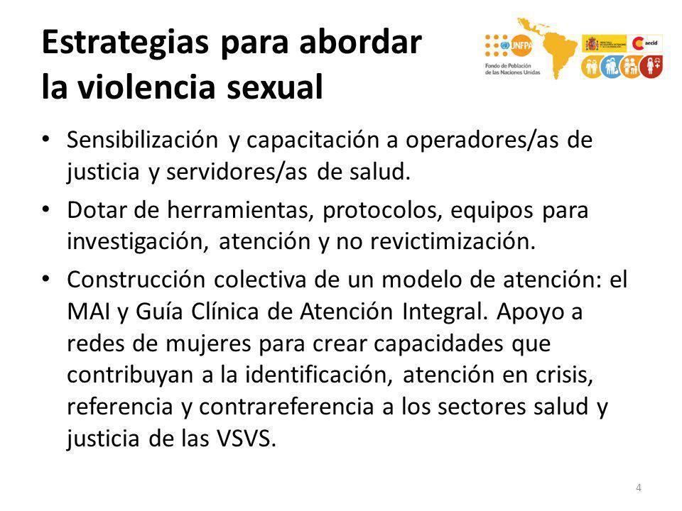 Estrategias para abordar la violencia sexual Sensibilización y capacitación a operadores/as de justicia y servidores/as de salud. Dotar de herramienta