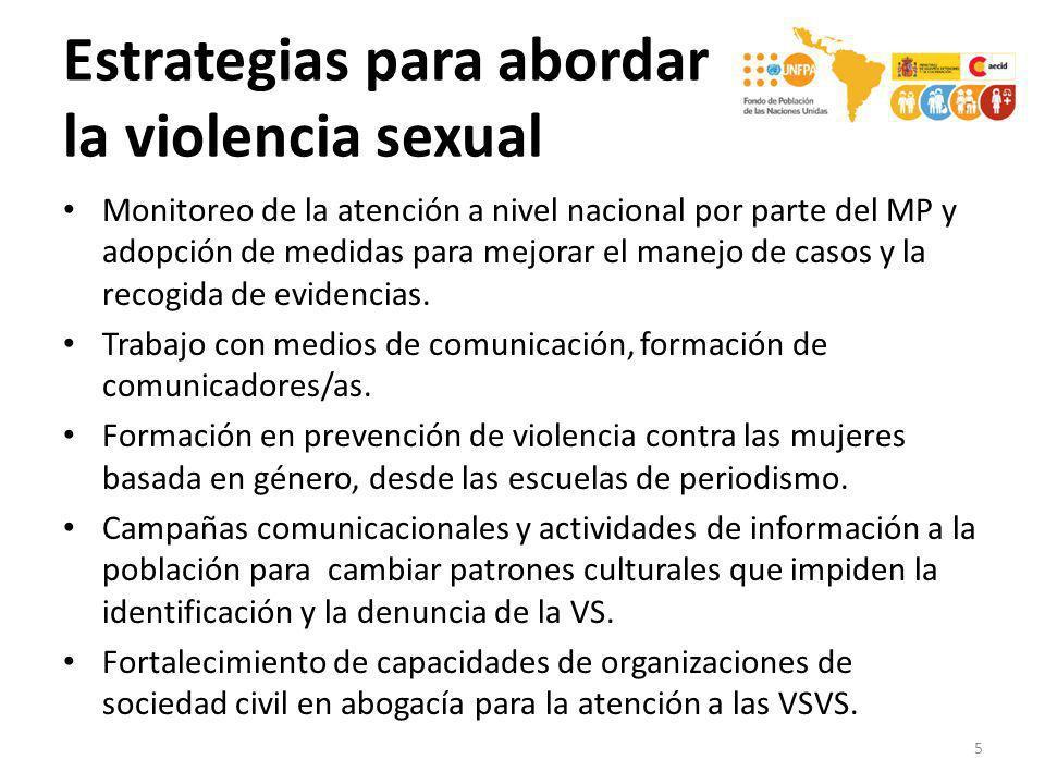 Estrategias para abordar la violencia sexual Monitoreo de la atención a nivel nacional por parte del MP y adopción de medidas para mejorar el manejo d