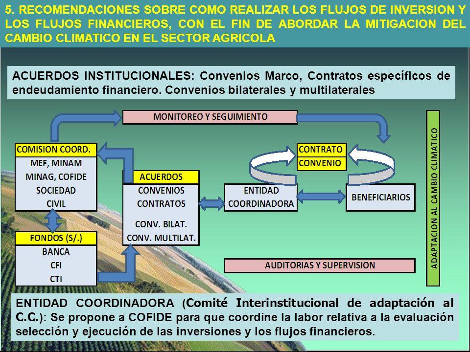 5. RECOMENDACIONES SOBRE COMO REALIZAR LOS FLUJOS DE INVERSION Y LOS FLUJOS FINANCIEROS, CON EL FIN DE ABORDAR LA MITIGACION DEL CAMBIO CLIMATICO EN E
