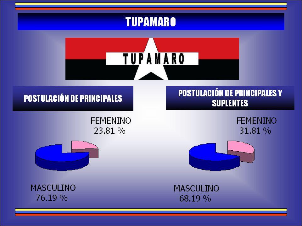 RELACIÓN GENERAL DE POSTULACIONES POR SEXO POSTULACIÓN DE PRINCIPALES POSTULACIÓN DE PRINCIPALES Y SUPLENTES MASCULINO 66,44 % FEMENINO 33,56 % MASCULINO 77,17 % FEMENINO 22,83 %
