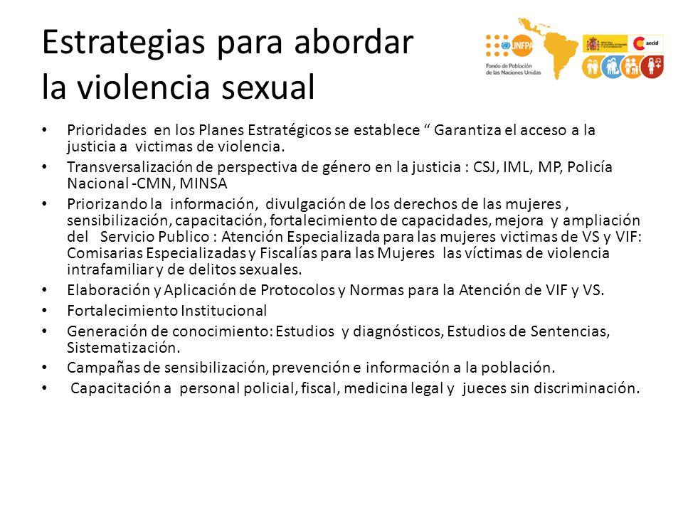 Estrategias para abordar la violencia sexual Prioridades en los Planes Estratégicos se establece Garantiza el acceso a la justicia a victimas de viole