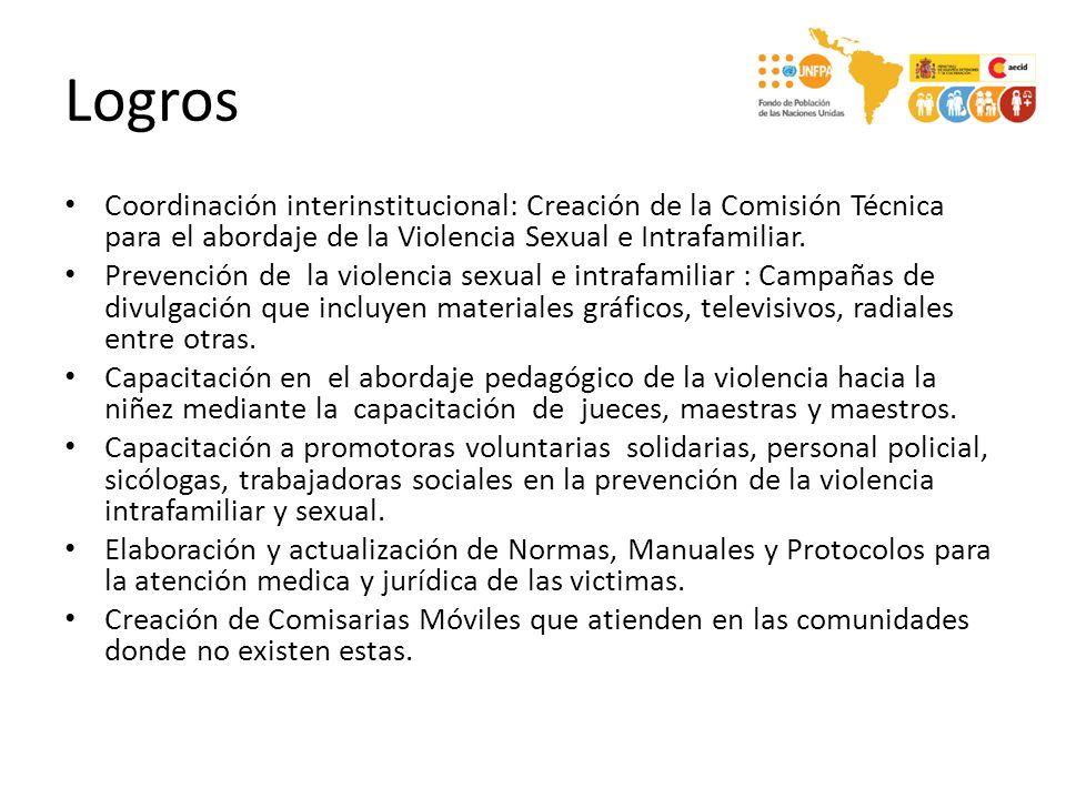 Logros Coordinación interinstitucional: Creación de la Comisión Técnica para el abordaje de la Violencia Sexual e Intrafamiliar. Prevención de la viol