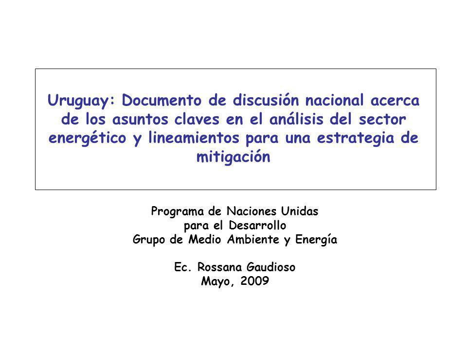 Uruguay: Documento de discusión nacional acerca de los asuntos claves en el análisis del sector energético y lineamientos para una estrategia de mitig