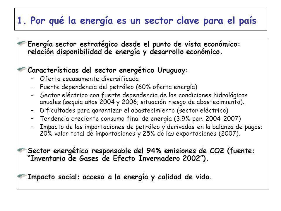 1. Por qué la energía es un sector clave para el país Energía sector estratégico desde el punto de vista económico: relación disponibilidad de energía