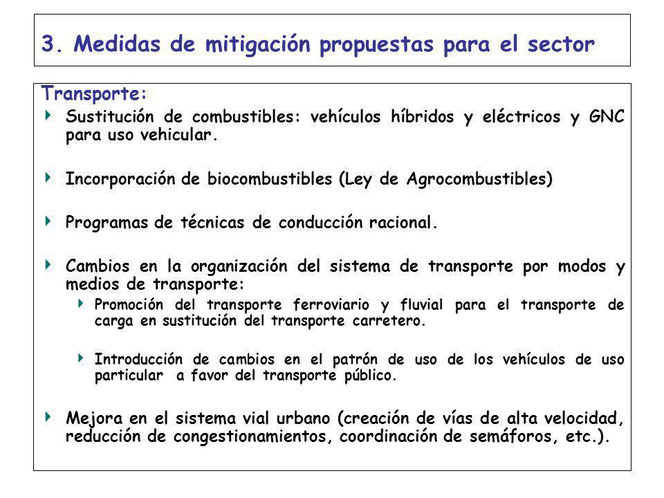 3. Medidas de mitigación propuestas para el sector Transporte: Sustitución de combustibles: vehículos híbridos y eléctricos y GNC para uso vehicular.
