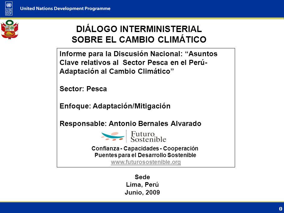 0 DIÁLOGO INTERMINISTERIAL SOBRE EL CAMBIO CLIMÁTICO Sede Lima, Perú Junio, 2009 Informe para la Discusión Nacional: Asuntos Clave relativos al Sector Pesca en el Perú- Adaptación al Cambio Climático Sector: Pesca Enfoque: Adaptación/Mitigación Responsable: Antonio Bernales Alvarado Confianza - Capacidades - Cooperación Puentes para el Desarrollo Sostenible www.futurosostenible.org