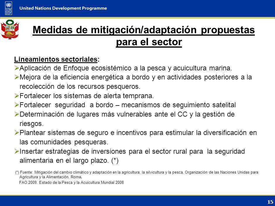 14 4.Aspectos institucionales y sociales Medidas importantes dictadas recientemente: Implementación de la Ley de Límites Máximos Captura por Embarcaci