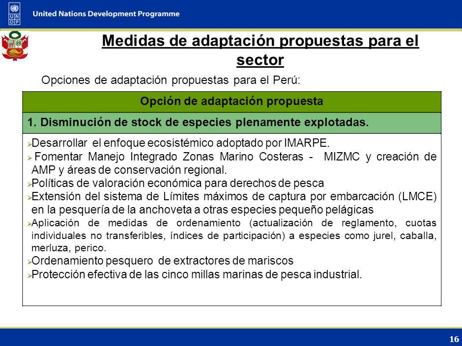 15 Medidas de mitigación/adaptación propuestas para el sector Lineamientos sectoriales: Aplicación de Enfoque ecosistémico a la pesca y acuicultura ma