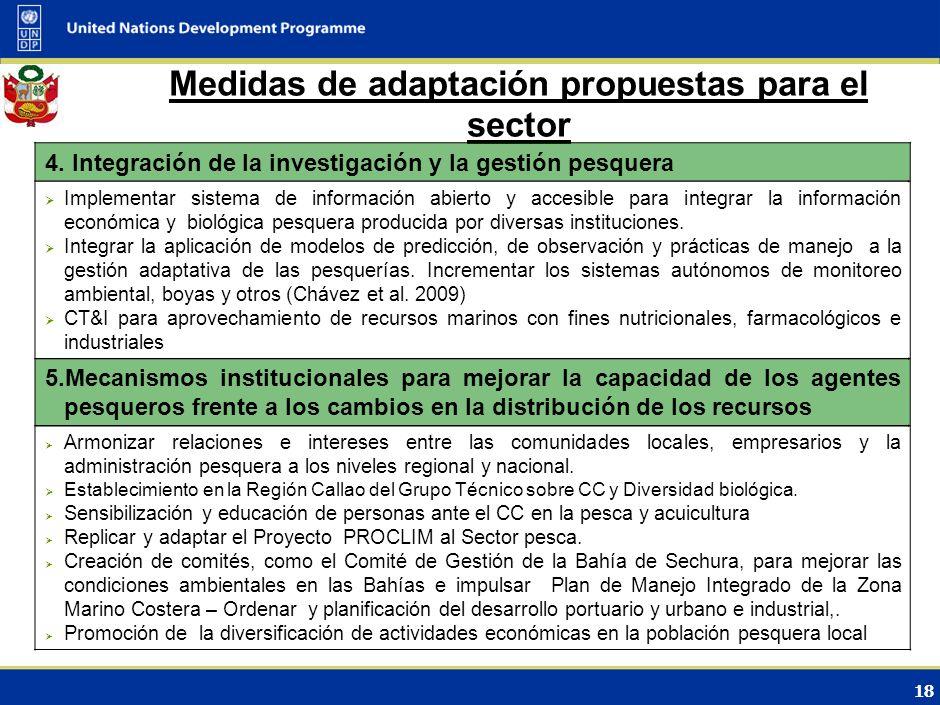 17 Medidas de adaptación propuestas para el sector 2. Gestión pesquera y prácticas de sostenibilidad Aprobación del Reglamento de Ordenamiento Acuícol