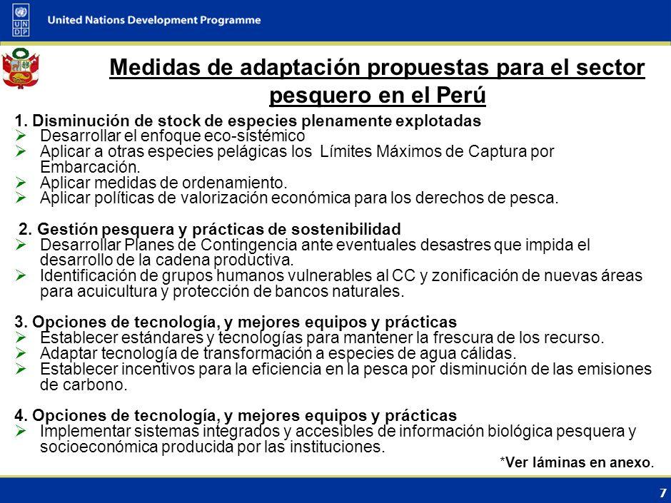 7 Medidas de adaptación propuestas para el sector pesquero en el Perú 1.