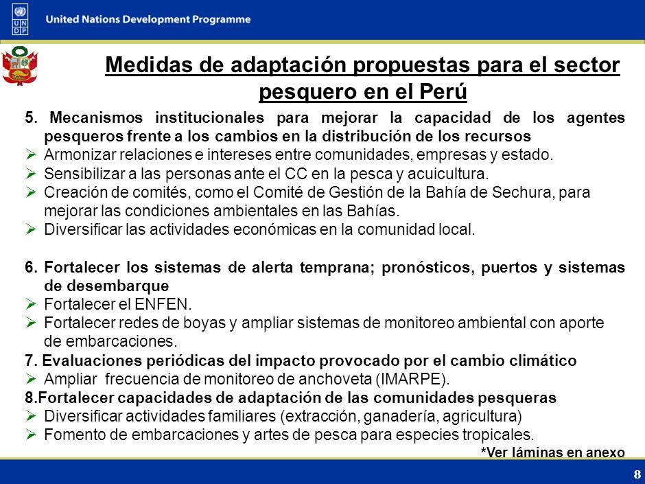 7 Medidas de adaptación propuestas para el sector pesquero en el Perú 1. Disminución de stock de especies plenamente explotadas Desarrollar el enfoque