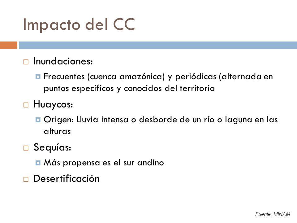 Impacto del CC Inundaciones: Frecuentes (cuenca amazónica) y periódicas (alternada en puntos específicos y conocidos del territorio Huaycos: Origen: L