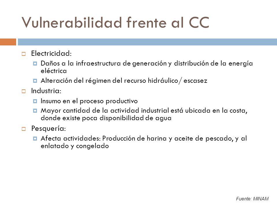 Vulnerabilidad frente al CC Electricidad: Daños a la infraestructura de generación y distribución de la energía eléctrica Alteración del régimen del r