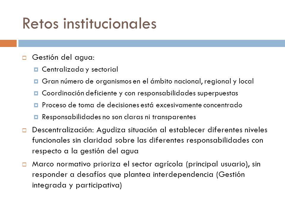 Retos institucionales Gestión del agua: Centralizada y sectorial Gran número de organismos en el ámbito nacional, regional y local Coordinación defici