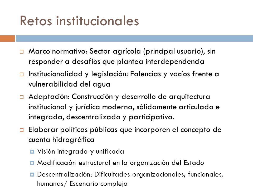 Retos institucionales Marco normativo: Sector agrícola (principal usuario), sin responder a desafíos que plantea interdependencia Institucionalidad y