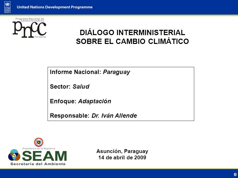 0 DIÁLOGO INTERMINISTERIAL SOBRE EL CAMBIO CLIMÁTICO Asunción, Paraguay 14 de abril de 2009 Informe Nacional: Paraguay Sector: Salud Enfoque: Adaptación Responsable: Dr.