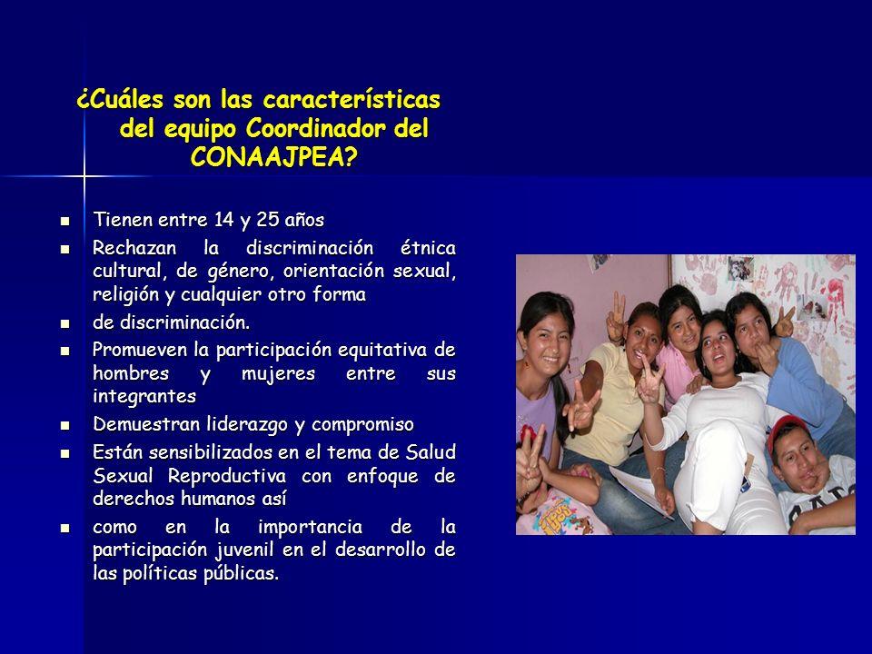 ¿Cuáles son las características del equipo Coordinador del CONAAJPEA? Tienen entre 14 y 25 años Tienen entre 14 y 25 años Rechazan la discriminación é