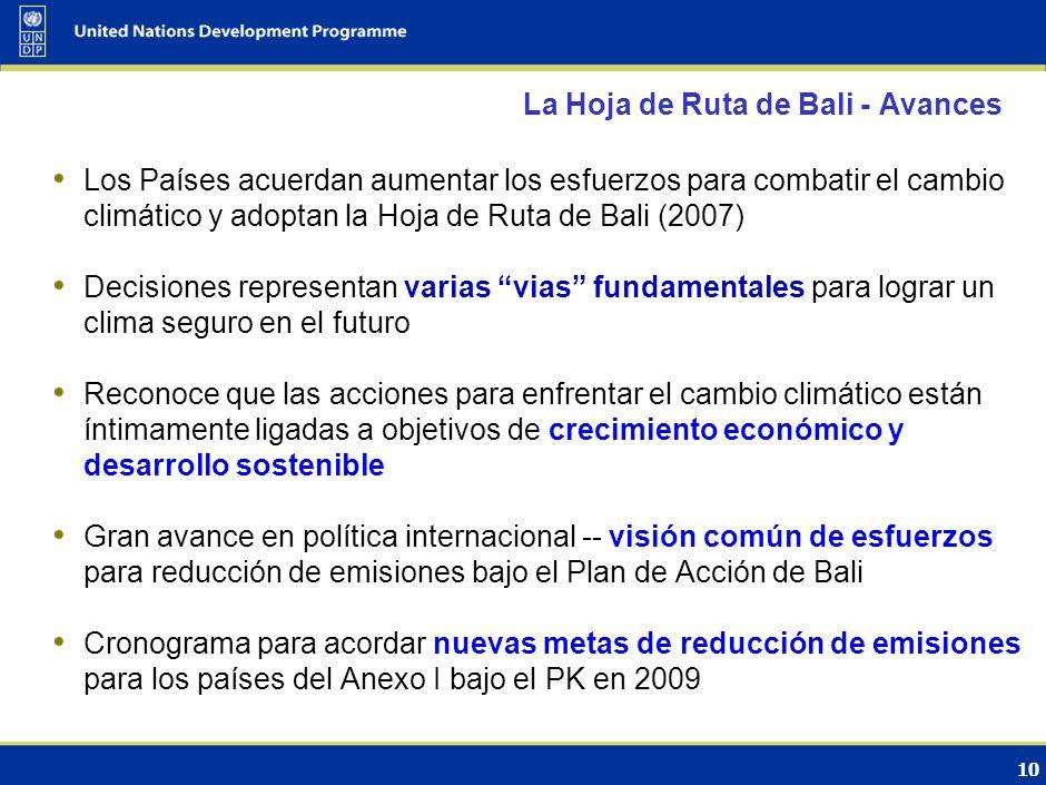 9 El Protocolo de Kioto fijó metas vinculantes para las Partes del Anexo I Adoptado en 1997; entró en vigor en el 2005 Ratificado por 184 Partes Reduc