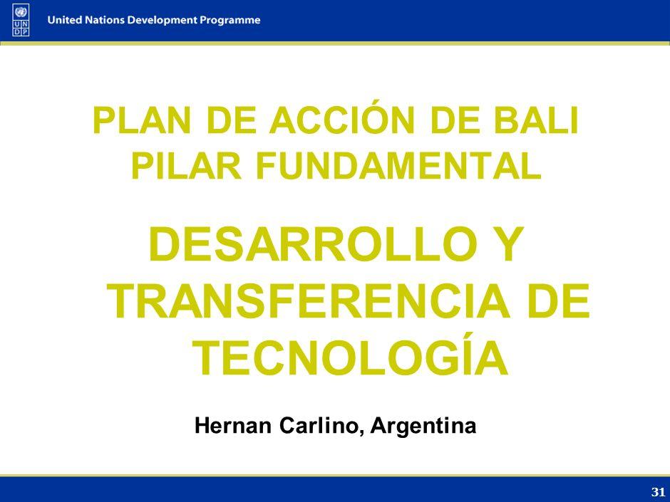 30 Opciones de financiamiento Aumento de la escala de los mecanismos existentes MDL y otros posibles mecanismos de crédito: $25 Fondo para la Adaptaci