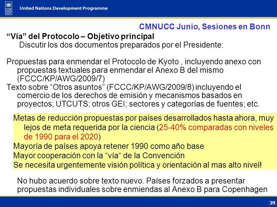38 CMNUCC Junio, Sesiones en Bonn Vía de la Convención – Objetivo principal Discutir texto preparado por el Presidente, basado en propuestas textuales de las Partes (FCCC/AWG/LCA/2009/8) Nuevo texto ha sido preparado para la próxima sesión FCCC/AWGLCA/2009/INF.1) - MRV solo se aplicará a las acciones de mitigación apoyadas por recursos financieros, tecnología y reforzamiento de las capacidades, aportados por los países desarrollados - Mayor elaboración en textos relacionados con mecanismos de registro, apoyo y acreditación de las MMAP - Las medidas REDD-plus necesitan jugar un papel importante con respecto a MMAP.