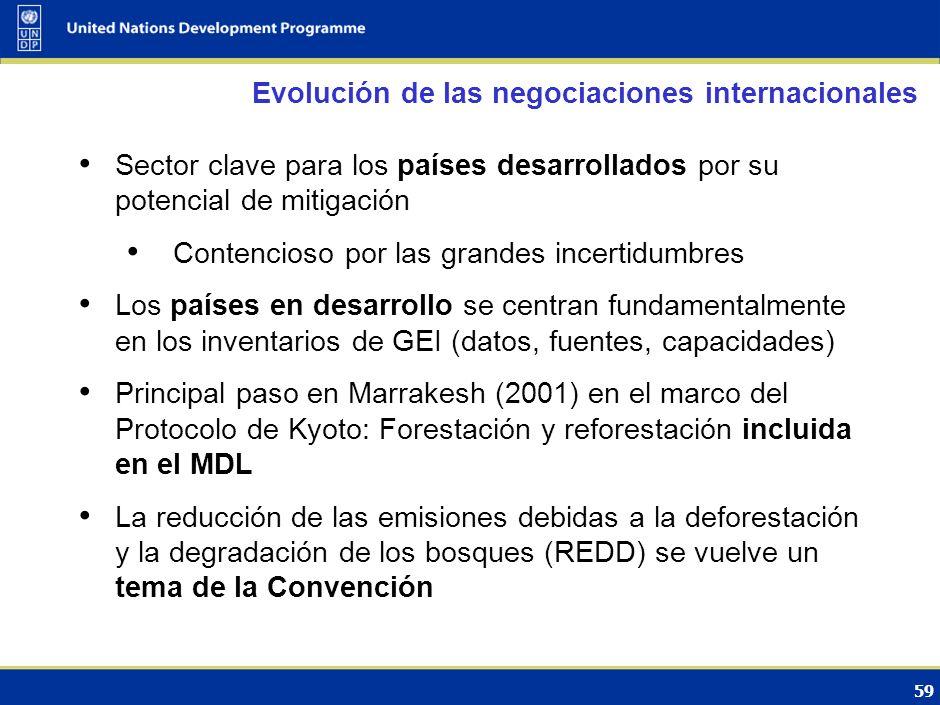 58 El papel del los bosques en la CMNUCC Cambio climático y Variabilidad climática Impactos Respuestas (CMNUCC) AdaptaciónMitigación Bosques: …manteni