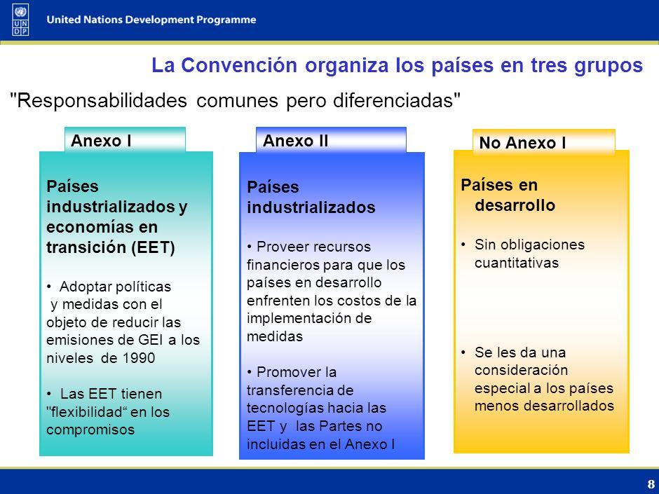 7 La Convención sobre Cambio Climático se enfocó originalmente en la mitigación (1992) Objetivo de la convención Lograr la estabilización atmosférica