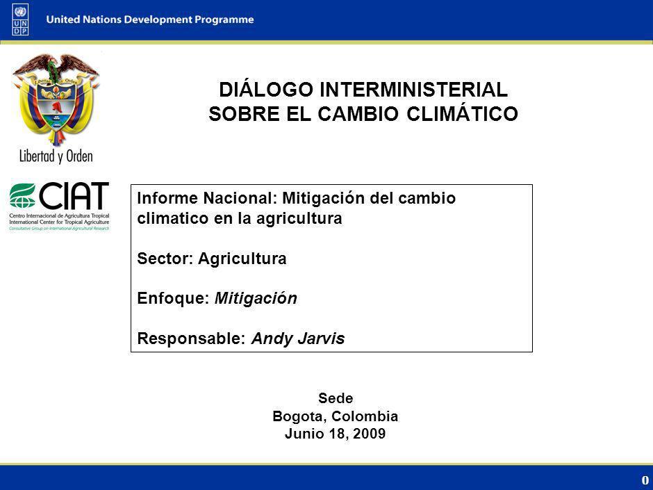 0 DIÁLOGO INTERMINISTERIAL SOBRE EL CAMBIO CLIMÁTICO Sede Bogota, Colombia Junio 18, 2009 Informe Nacional: Mitigación del cambio climatico en la agricultura Sector: Agricultura Enfoque: Mitigación Responsable: Andy Jarvis