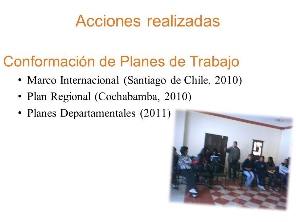 Acciones realizadas Eventos de fortalecimiento de capacidades y articulación en las regiones de Bolivia.