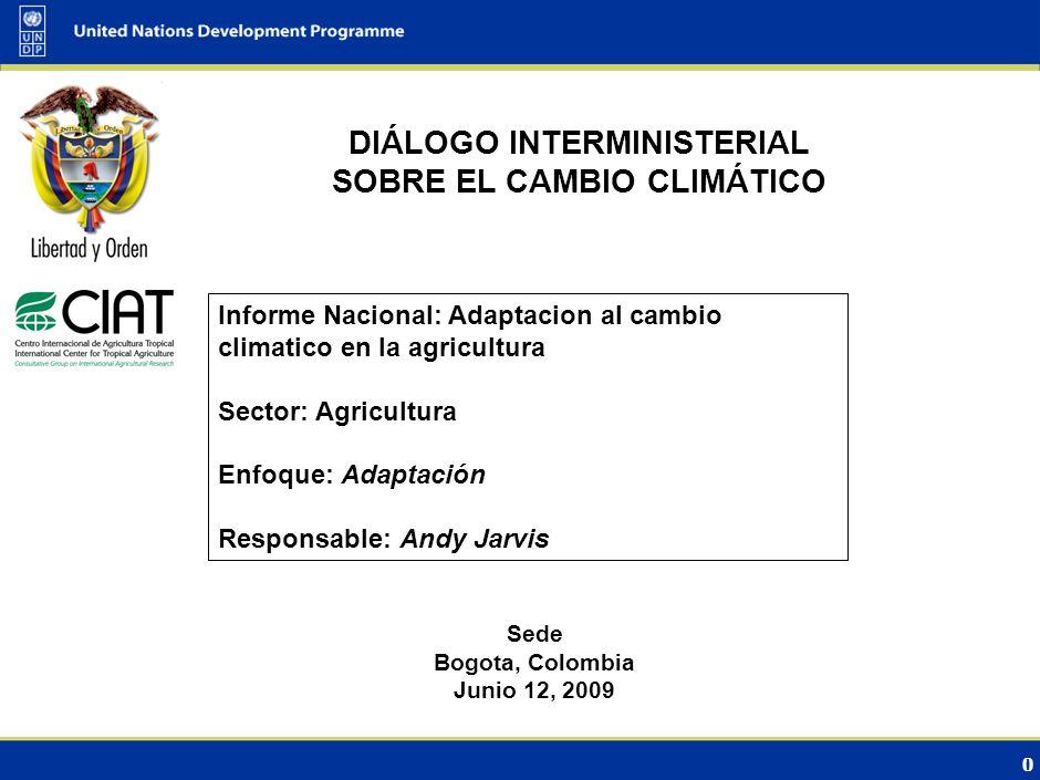 0 DIÁLOGO INTERMINISTERIAL SOBRE EL CAMBIO CLIMÁTICO Sede Bogota, Colombia Junio 12, 2009 Informe Nacional: Adaptacion al cambio climatico en la agricultura Sector: Agricultura Enfoque: Adaptación Responsable: Andy Jarvis