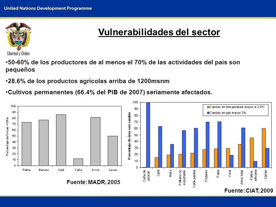 3 Vulnerabilidades del sector 50-60% de los productores de al menos el 70% de las actividades del pais son pequeños 28.6% de los productos agrícolas arriba de 1200msnm Cultivos permanentes (66.4% del PIB de 2007) seriamente afectados.