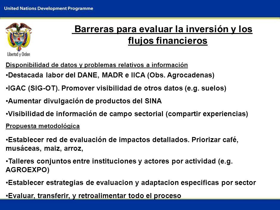6 Medidas de adaptación propuestas para el sector ESPECIFICAS Cambio en planeación de los cosechas por cambio en fenologia: café (<1500msnm), musáceas