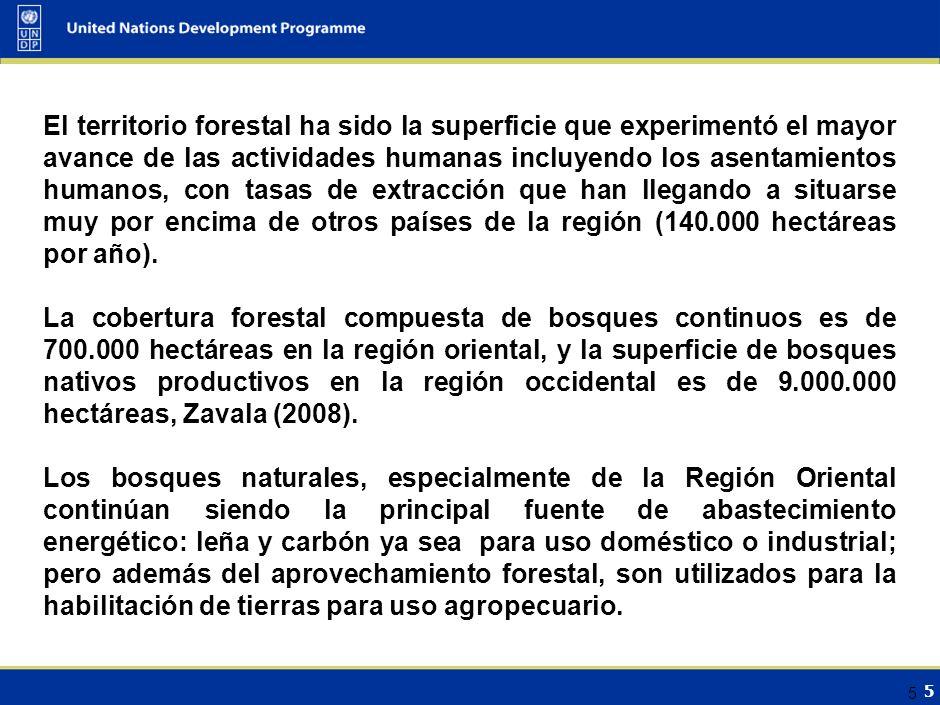 5 5 El territorio forestal ha sido la superficie que experimentó el mayor avance de las actividades humanas incluyendo los asentamientos humanos, con tasas de extracción que han llegando a situarse muy por encima de otros países de la región (140.000 hectáreas por año).