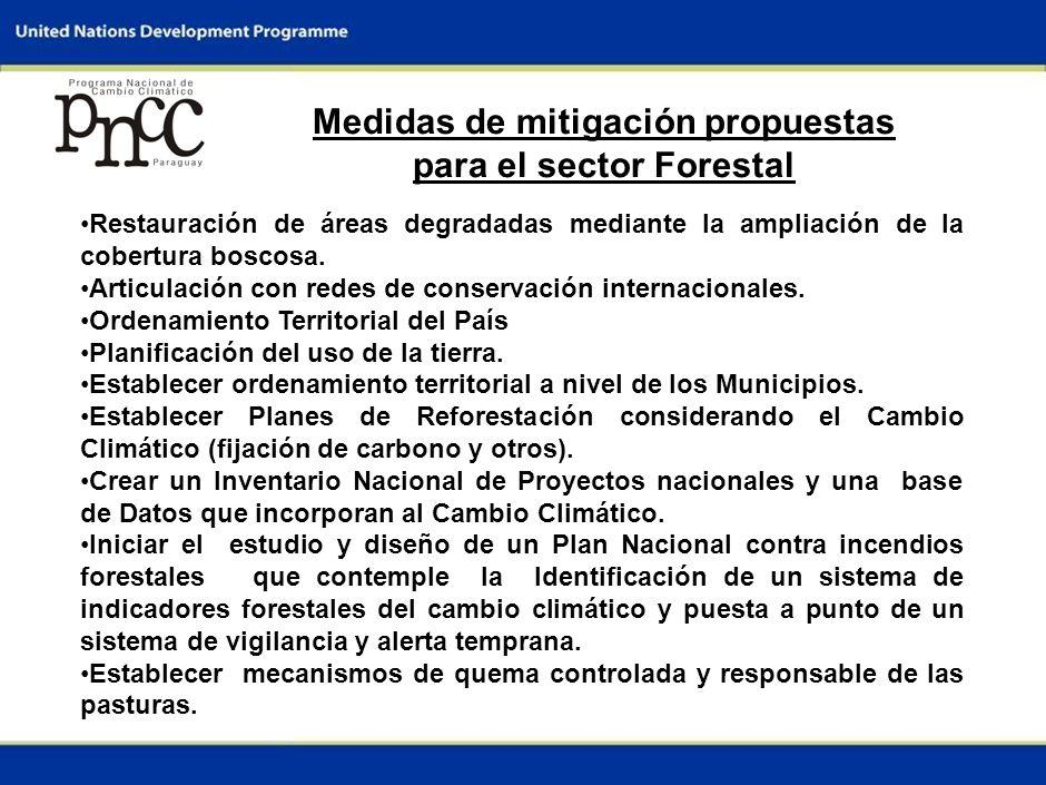 7 Medidas de mitigación propuestas para el sector Forestal Restauración de áreas degradadas mediante la ampliación de la cobertura boscosa.