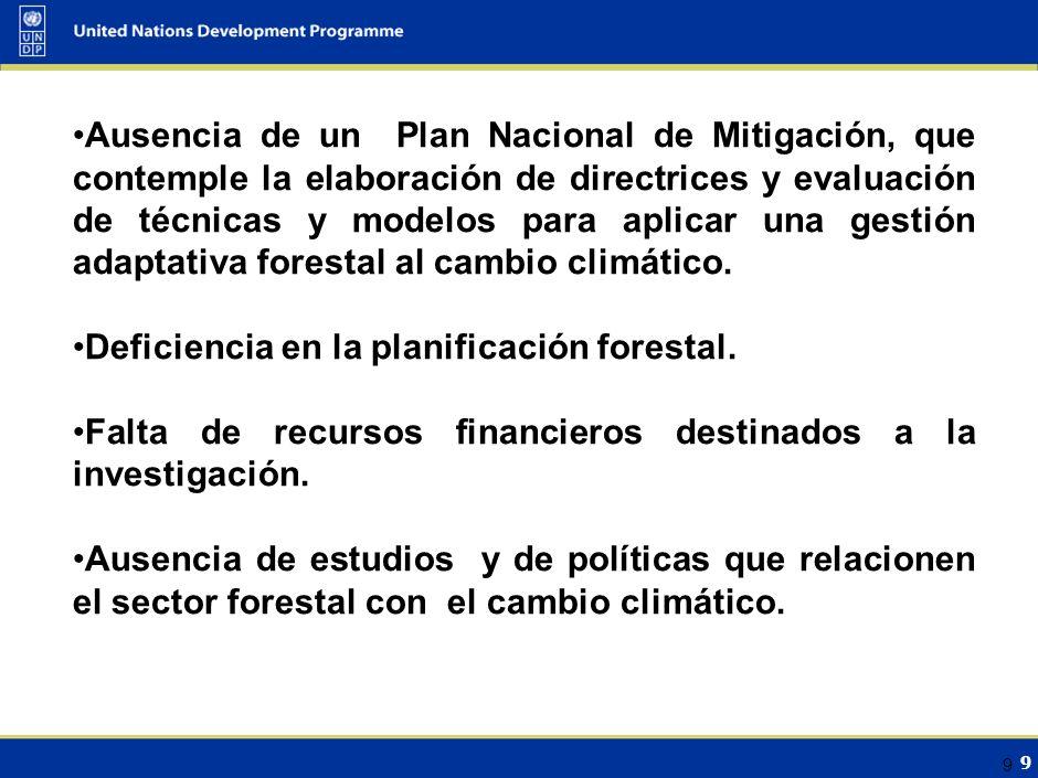 9 9 Ausencia de un Plan Nacional de Mitigación, que contemple la elaboración de directrices y evaluación de técnicas y modelos para aplicar una gestión adaptativa forestal al cambio climático.