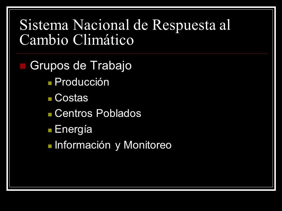 Sistema Nacional de Respuesta al Cambio Climático Grupos de Trabajo Producción Costas Centros Poblados Energía Información y Monitoreo