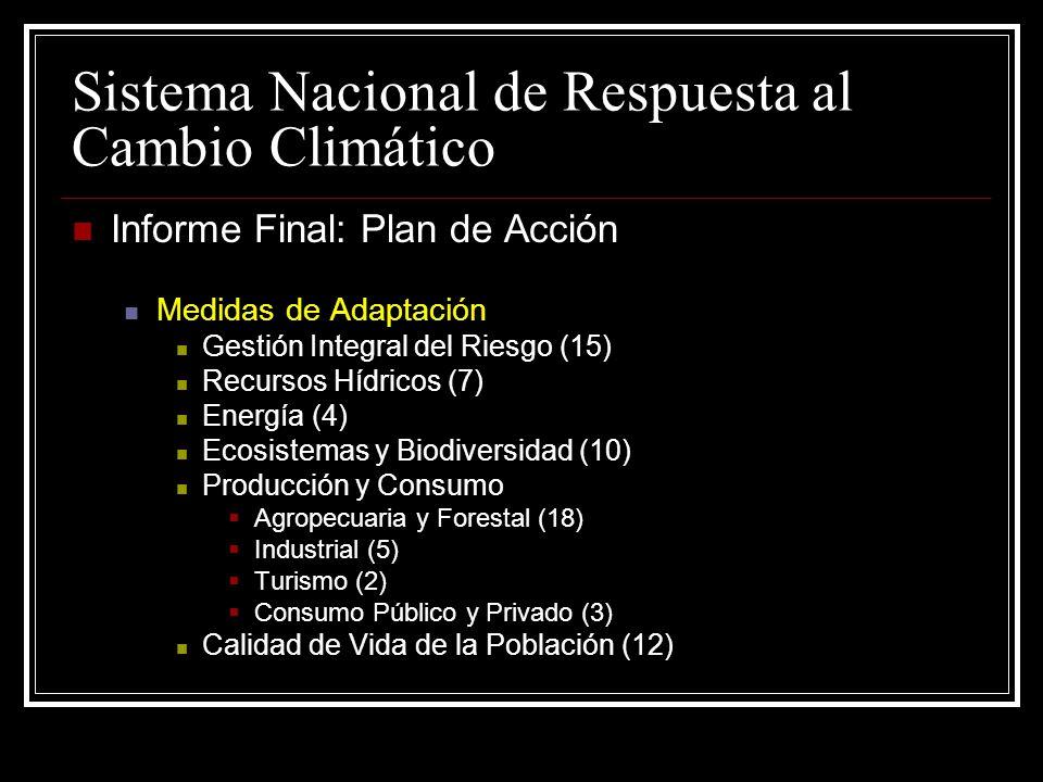 Sistema Nacional de Respuesta al Cambio Climático Informe Final: Plan de Acción Medidas de Adaptación Gestión Integral del Riesgo (15) Recursos Hídricos (7) Energía (4) Ecosistemas y Biodiversidad (10) Producción y Consumo Agropecuaria y Forestal (18) Industrial (5) Turismo (2) Consumo Público y Privado (3) Calidad de Vida de la Población (12)