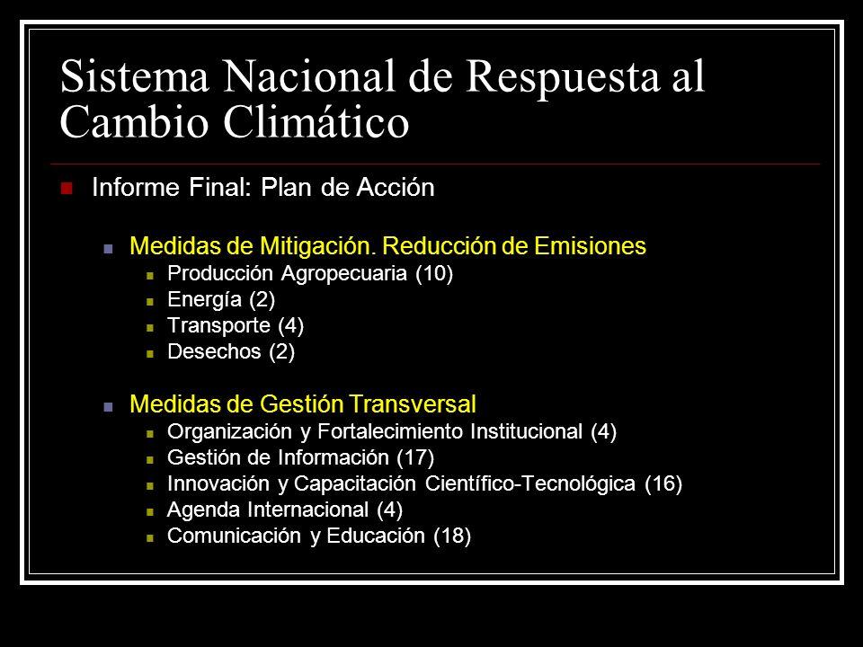 Sistema Nacional de Respuesta al Cambio Climático Informe Final: Plan de Acción Medidas de Mitigación.