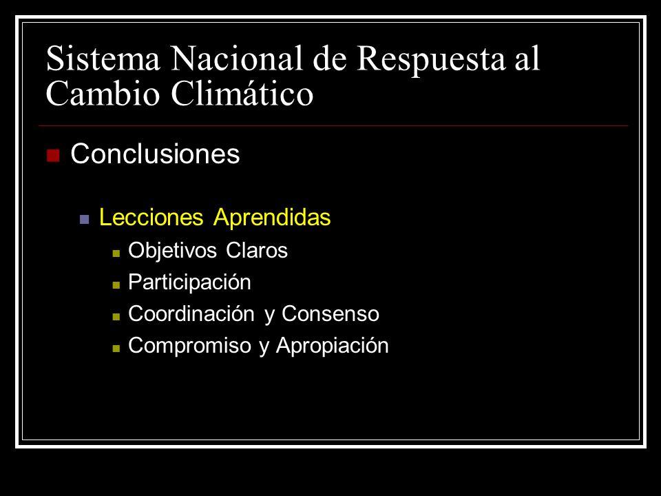 Sistema Nacional de Respuesta al Cambio Climático Conclusiones Lecciones Aprendidas Objetivos Claros Participación Coordinación y Consenso Compromiso y Apropiación