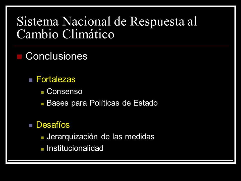 Sistema Nacional de Respuesta al Cambio Climático Conclusiones Fortalezas Consenso Bases para Políticas de Estado Desafíos Jerarquización de las medidas Institucionalidad