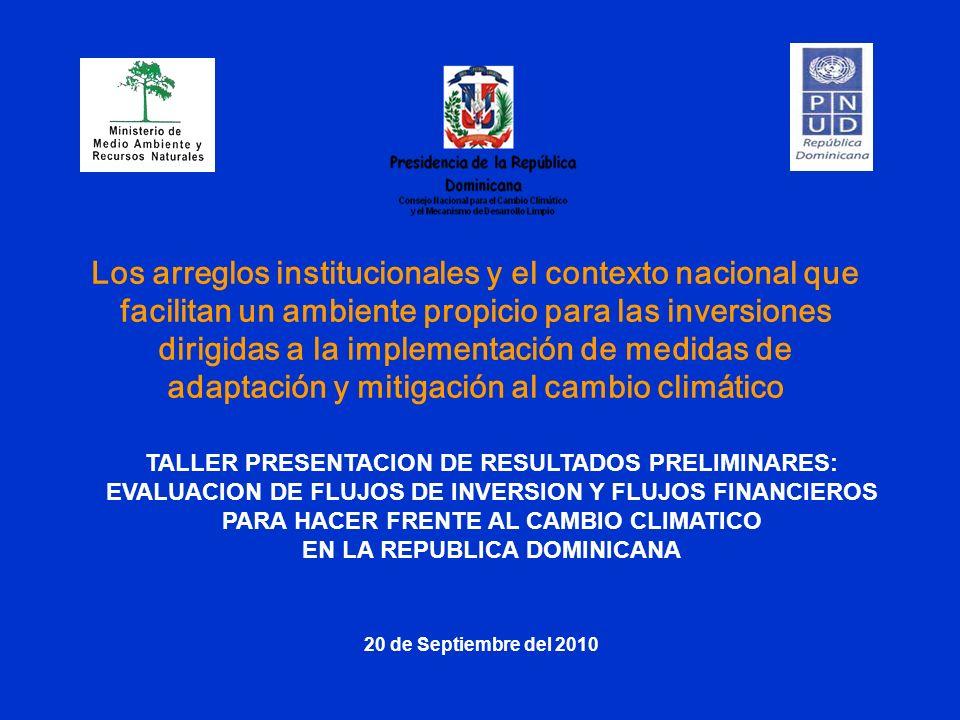 TALLER PRESENTACION DE RESULTADOS PRELIMINARES: EVALUACION DE FLUJOS DE INVERSION Y FLUJOS FINANCIEROS PARA HACER FRENTE AL CAMBIO CLIMATICO EN LA REP
