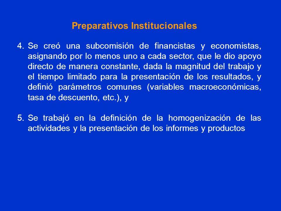 4.Se creó una subcomisión de financistas y economistas, asignando por lo menos uno a cada sector, que le dio apoyo directo de manera constante, dada l