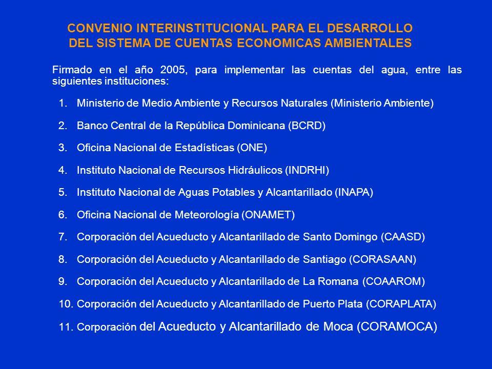 Firmado en el año 2005, para implementar las cuentas del agua, entre las siguientes instituciones: 1.Ministerio de Medio Ambiente y Recursos Naturales