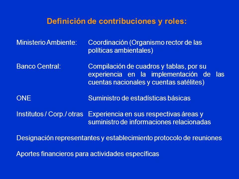 Ministerio Ambiente:Coordinación (Organismo rector de las políticas ambientales) Banco Central:Compilación de cuadros y tablas, por su experiencia en